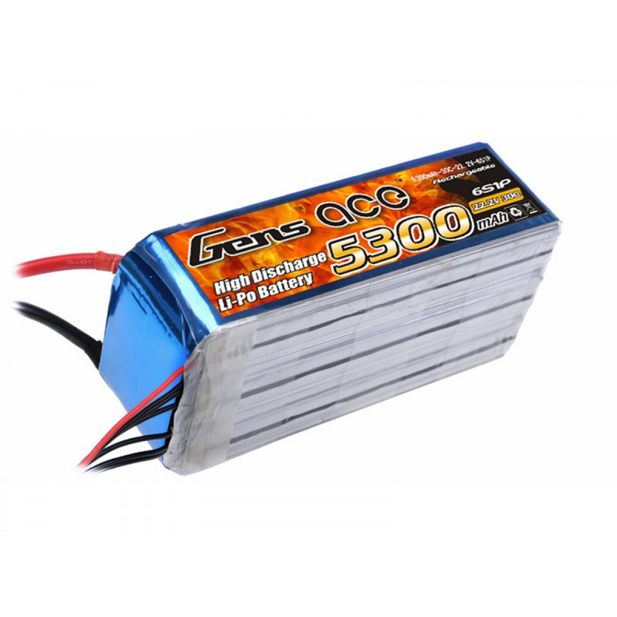 Gens Ace 5300mAh 22.2V 30C-60C 6S1P EC5 Lipo Battery Pack