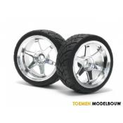 MOUNTED X-PATTERN TIRE ON TE37 6mm OFFSET CHROME - HPI4735