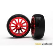 Tires & wheels assembled glued red - TRX7573X