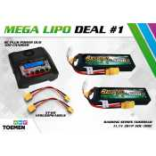 2x Gens ace Bashing Series 5000mAh 11.1V 3S1P 50C-100C Lipo Batterij XT90 en RC Plus Power Duo 100 Charger