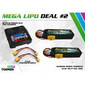 2x Gens ace Bashing Series 5000mAh 14.8V 4S1P 50C-100C Lipo Batterij XT90 en RC Plus Power Duo 100 Charger