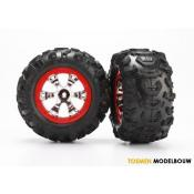 Tires and wheels assembled - red beadlock style wheels - TRX7272