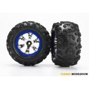Tires and wheels assembled - blue beadlock style wheels - TRX7274