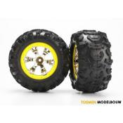 Tires and wheels assembled - yellow beadlock style wheels - TRX7276
