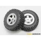Tires and wheels assembled - SCT satin chrome wheels 1:16 - TRX7073