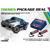 Traxxas Slash 4x4 Brushless Shourt Course Truck RTR TSM 2.4Ghz Blauw - inclusief Power Package