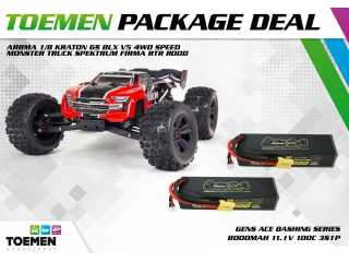 ARRMA 1/8 Kraton 6S BLX V5 4WD Speed Monster Truck Spektrum Firma RTR Rood + Gens Ace Bashing Series 8000mAh