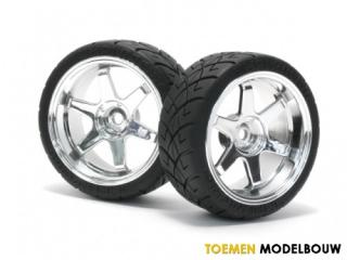 HPI MOUNTED X-PATTERN TIRE ON TE37 6mm OFFSET CHROME - HPI4735