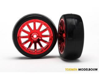 Traxxas Tires & wheels assembled glued red - TRX7573X