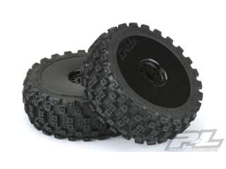 Proline Badlands MX M2 (Medium) All Terrain 1:8 Buggy Tires Mounted for Front or Rear, Mounted on Velocity Black Wheels