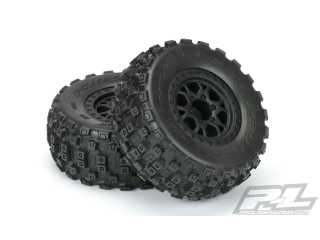 "Proline Badlands MX SC 2.2""/3.0\"" M2 (Medium) Tires Mounted for SCTE 4x4, SC10 4x4, SCT410 and all ProTrac Slash Kits. Mounted on ProTrac Impulse Black Wheels"