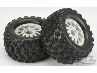 "Proline Badlands MX28 2.8"" (Traxxas Style Bead) All Terrain Tires, Mounted on F-11 Stone Gray Wheels"