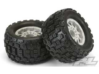 "Proline Badlands MX38 3.8"" (Traxxas Style Bead) All Terrain Tires Mounted for 17mm MT Front or Rear, Mounted on F-11 Stone Gray 1/2\"" Offset 17mm Wheels"