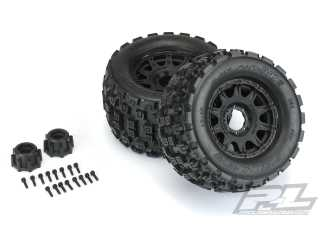 "Proline Badlands MX38 3.8"" All Terrain Tires Mounted for 17mm MT Front or Rear, Mounted on Raid Black 8x32 Removable Hex 17mm Wheels"