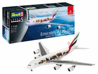 "Revell Airbus A380-800 Emirates ""Wild Life\"" in 1:144 bouwpakket"