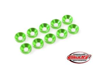 Team Corally - Aluminium Washer - for M4 Socket Head Screws - OD=10mm - Green - 10 pcs