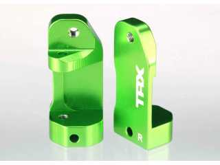 Traxxas Caster blocks, 30-degree, green-anodized 6061-T6 aluminum (left & right)/ suspension screw pin (2) - TRX3632G