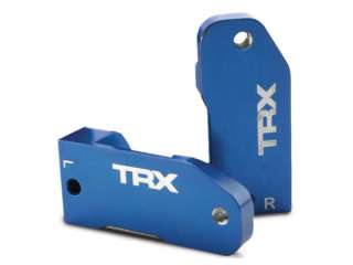 Traxxas Caster blocks, 30-degree, blue-anodized 6061-T6 aluminum (left & right)/ suspension screw pin (2) - TRX3632A