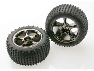 "Traxxas Alias Tires with Tracer 2.2"" Black Chrome Wheels (assembled, glued) (rear) (TSM rated) - TRX2470A"