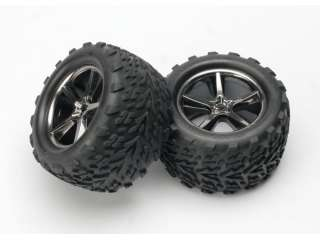 Traxxas Talon tires Gemini black chrome wheels foam inserts assembled glued 2 - TRX5374A