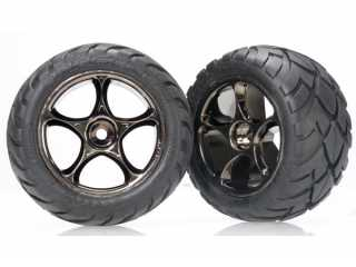 "Traxxas Tires & wheels, assembled (Tracer 2.2"" black chrome wheels, Anaconda 2.2\"" tires with foam inserts) (2) (Bandit rear) - TRX2478A"