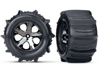 "Traxxas Tires & wheels, assembled, glued (2.8"") (All-Star black chrome wheels, paddle tires, foam inserts) (electric rear) (2) (TSM rated)"