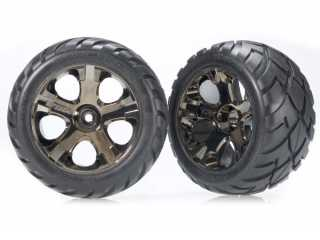 Traxxas Tires & wheels, assembled, glued (All-Star black chrome wheels, Anaconda tires, foam inserts) (nitro rear/ electric front) (1 left, 1 right) - TRX3776A