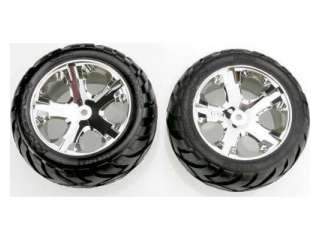 Traxxas Tires & wheels, assembled, glued (All Star chrome wheels, Anaconda tires, foam inserts) (electric rear) (1 left, 1 right) - TRX3773