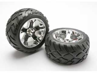 Traxxas Tires & wheels, assembled, glued (All-Star chrome wheels, Anaconda tires, foam inserts) (nitro rear/ electric front) (1 left, 1 right) - TRX5576R