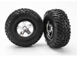 Traxxas Tires & wheels, assembled, glued (SCT satin chrome, black beadlock style wheels, SCT off-road racing tires, foam inserts) (2) (4WD front/rear, 2WD rear only) - TRX5873X