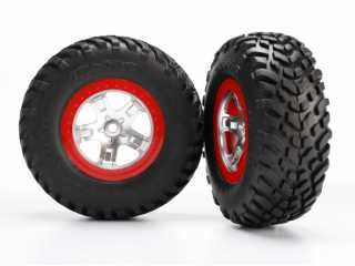 Traxxas Tires & wheels, assembled, glued (SCT satin chrome red beadlock wheels, ultra-soft S1 compound off-road racing tires, inserts) (2) (2WD rear, 4WD f/r) - TRX5873R