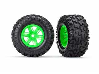 Traxxas Tires & wheels, assembled, glued (X-Maxx green wheels, Maxx AT tires, foam inserts) (left & right) (2) - TRX7772G
