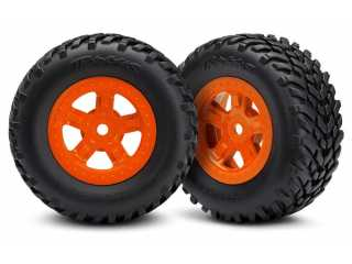 Traxxas Tires and wheels, assembled, glued (SCT orange wheels, SCT off-road racing tires)(1 each, right & left) - TRX7674A