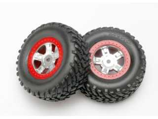 Traxxas Tires and wheels, assembled, glued (SCT satin chrome wheels, red beadlock style, SCT off-road racing tires, foam inserts) (1 each, right & left) - TRX7073A
