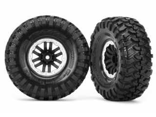 Traxxas Tires and wheels, assembled, glued (TRX-4 satin beadlock wheels, Canyon Trail 1.9 tires) (2) - TRX8272X
