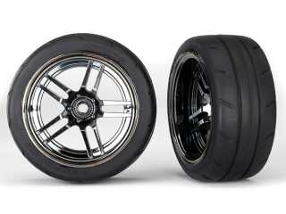 "Traxxas Tires and wheels, assembled, glued (split-spoke black chrome wheels, 1.9"" Response tires) (extra wide, rear) (2) - TRX8374"