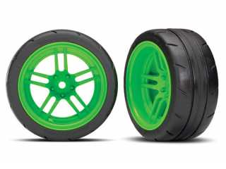 "Traxxas Tires and wheels, assembled, glued (split-spoke green wheels, 1.9"" Response tires) (extra wide, rear) (2) (VXL rated) - TRX8374G"