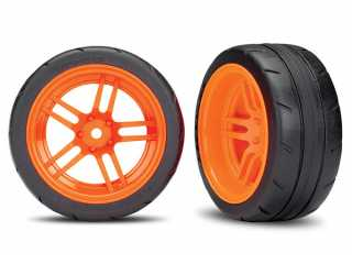 "Traxxas Tires and wheels, assembled, glued (split-spoke orange wheels, 1.9"" Response tires) (extra wide, rear) (2) (VXL rated) - TRX8374A"