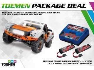 Traxxas Unlimited Desert Racer 4WD Race Truck RTR TSM 2.4Ghz FOX met LED set - inclusief Power Package