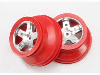 "Traxxas Wheels, SCT satin chrome, red beadlock style, dual profile (2.2"" outer, 3.0\"" inner) (4WD front/rear, 2WD rear only) (2) - TRX5872A"