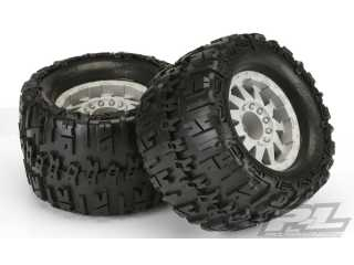 "Proline Trencher X 3.8"" (Traxxas Style Bead) All Terrain Tires Mounted for 17mm MT Front or Rear, Mounted on F-11 Stone Gray 1/2\"" Offset 17mm Wheels"