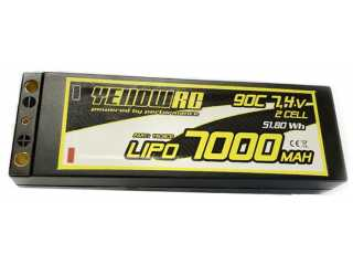 Yellow RC LiPo 7000mAh 7.4V 2S 90C with deans connector